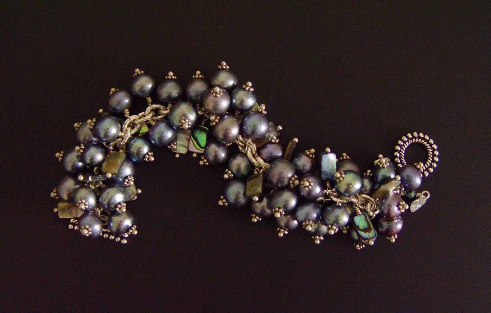 blue pearl bracelet virgo moon one of a kind handmade